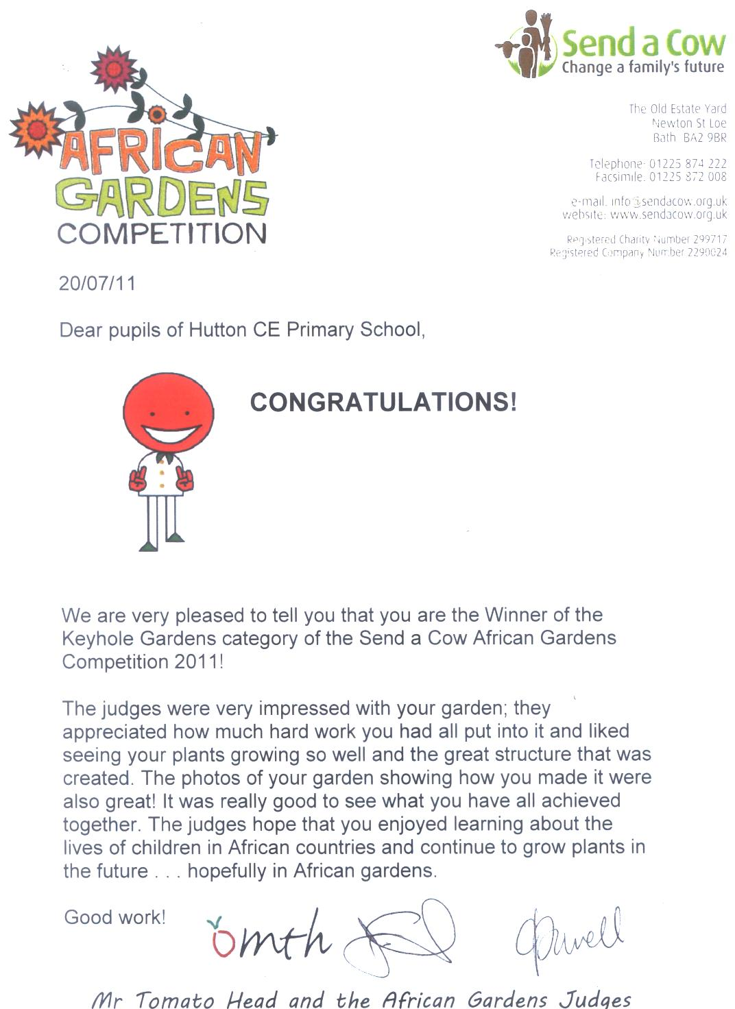 Competition letter | Hutton Church of England Primary School